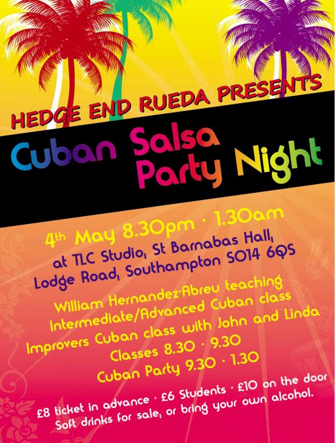 Olga's cuban party night flyer 4 may 2019